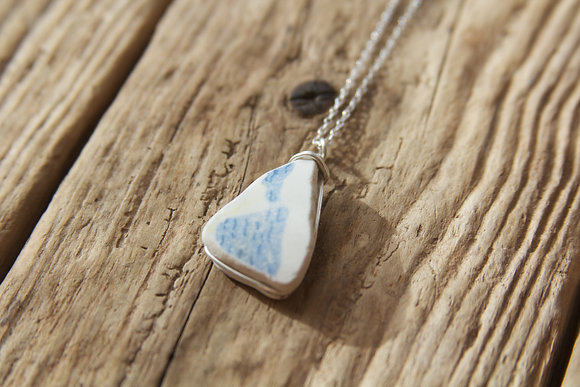 Blue and White Pottery Wrap Necklace