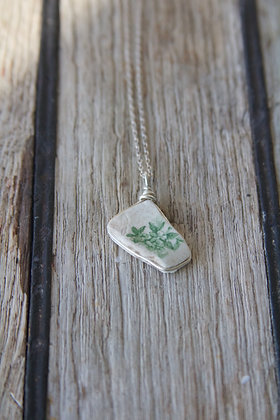 Green Pottery Wrap Necklace