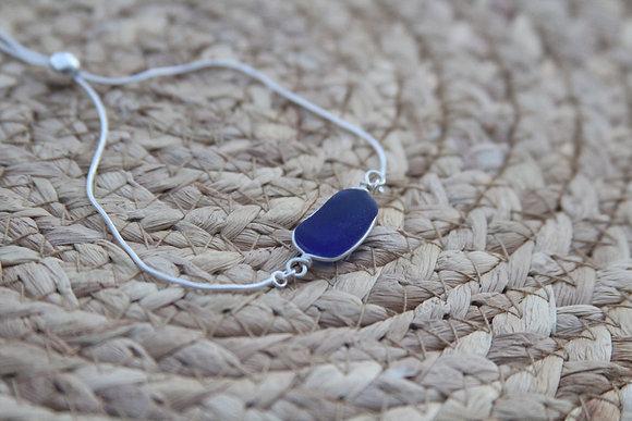 Adjustable Cobalt Blue Sea Glass Bracelet