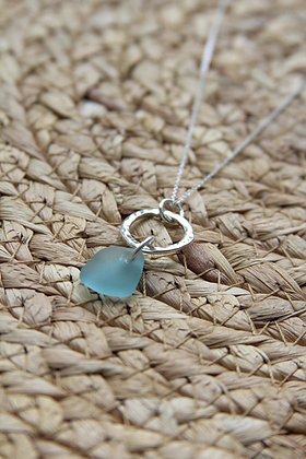 Turquoise Small Hammered Hoop Necklace
