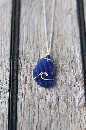 Textured Cobalt Wave Necklace