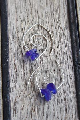 Spiral Hoop Cobalt Earrings