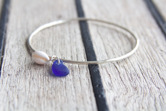 Cowrie and Cobalt Blue Sea Glass Hammered Bangle