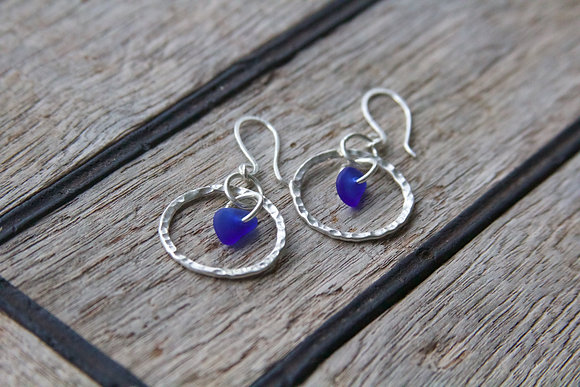 Cobalt Blue Hammered Hoop Earrings