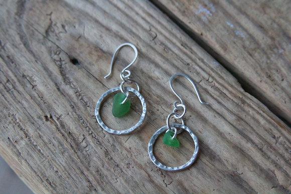 Green Hammered Hoop Earrings