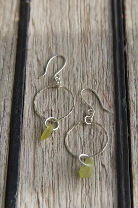 Lime Green Textured Small Hoop Earrings