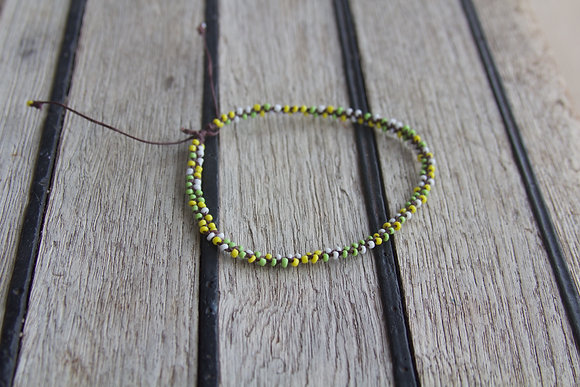 Green Tones Seed Bead Anklet