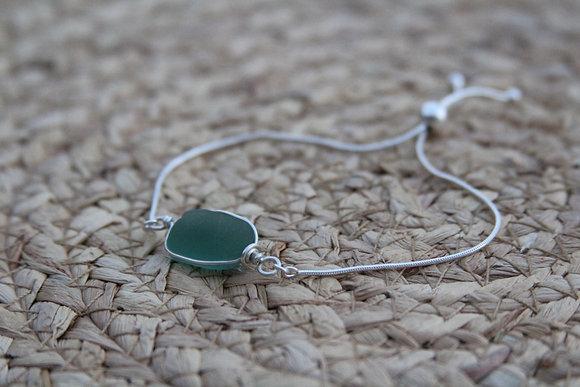 Adjustable Seafoam Sea Glass Bracelet