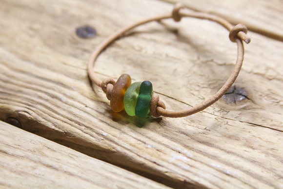 Tan Leather Green Sea Glass Collection Bracelet