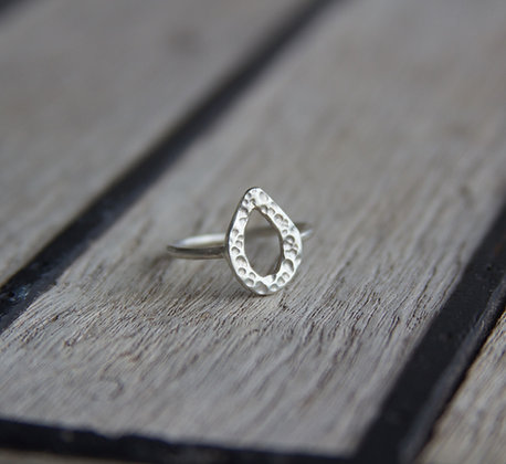 Hammered Tear Drop Ring