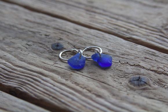 Cobalt Blue Sea Glass Huggies