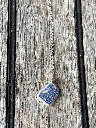 Blue Pottery Wrap Necklace