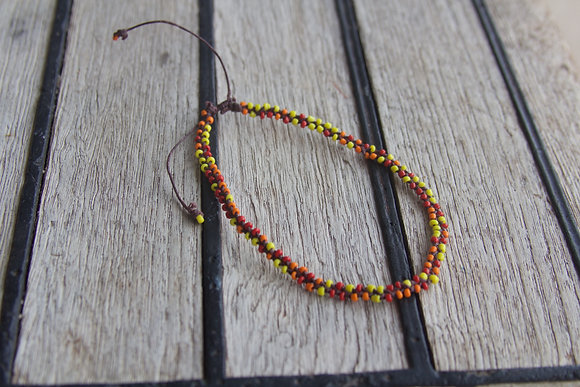 Warm Tones Seed Bead Anklet