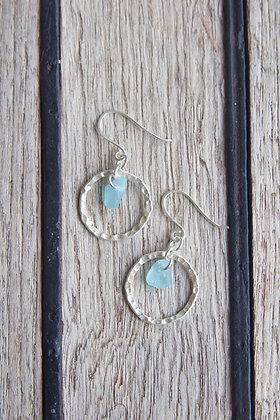 Turquoise Hammered Hoop Earrings