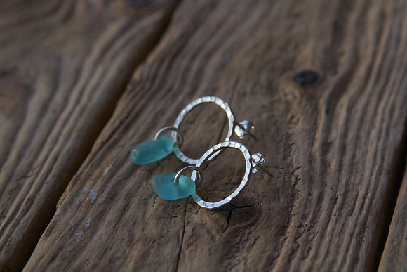 Turquoise Hammered Hoop Studs