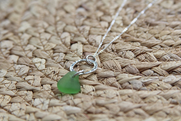 Green Small Hammered Hoop Necklace