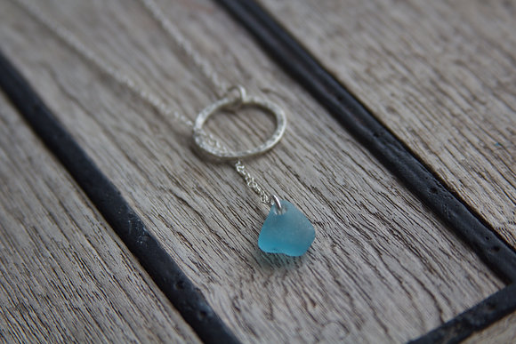 Turquoise Thread Through Hoop Necklace