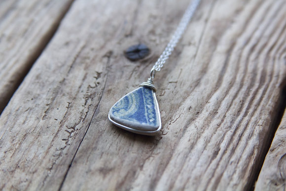 Blue Pottery Wrap Necklace