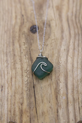 Dark Seafoam Wave Necklace