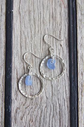 Indigo Blue Hammered Hoop Earrings