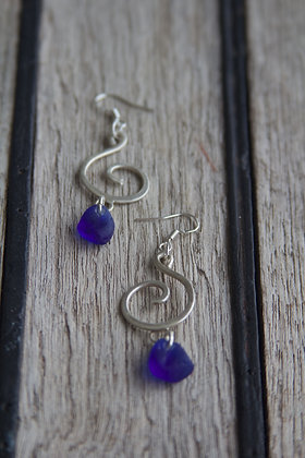 Cobalt Spiral Earrings