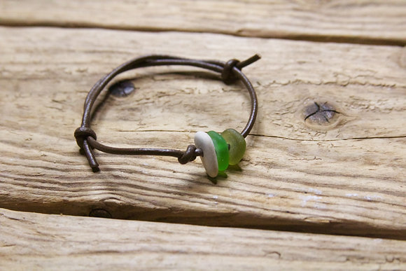 Brown Leather Green Sea Glass Collection Bracelet