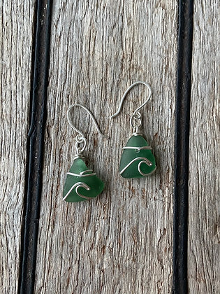 Green Bantham Wave Earrings