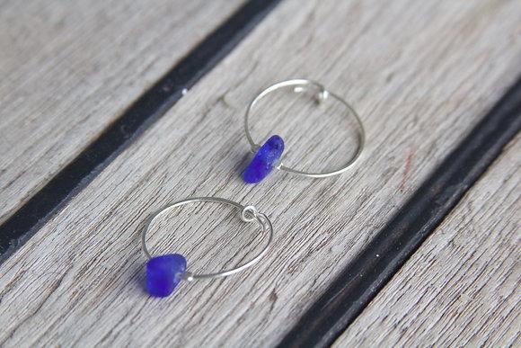 Cobalt Blue Seaglass Hoop Earrings