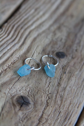 Turquoise Sea Glass Huggies