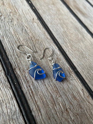 Blue Bantham Wave Earrings