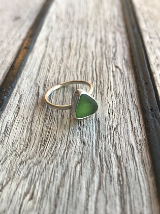 Green Triangle Sterling Silver Ring