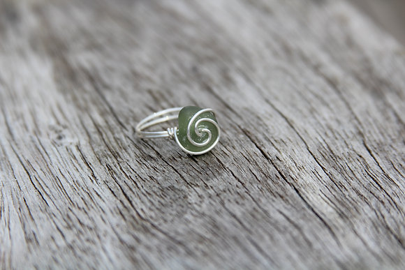 Olive Green Spiral Ring