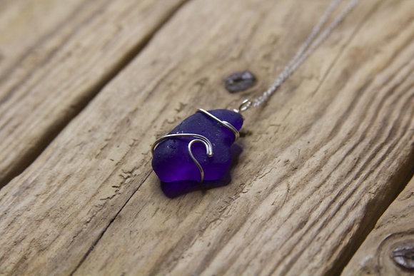 Dark Cobalt Blue Wave Necklace