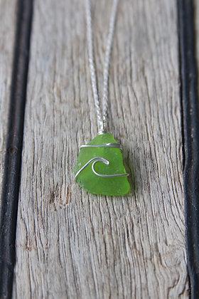 Rare Bright Green Wave Necklace