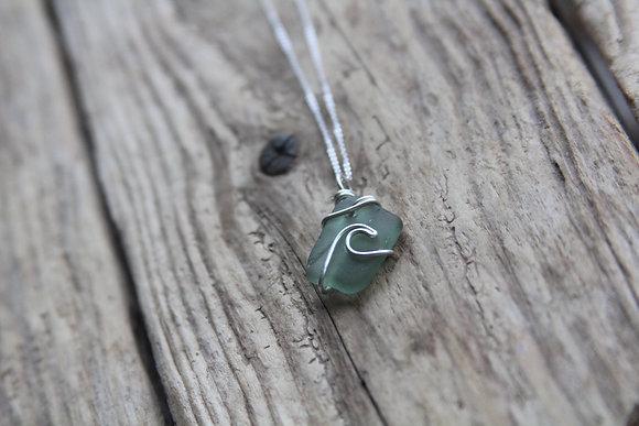 Sage Green Signature Wave Necklace