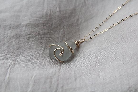 Light Teal Signature Gold Wave Necklace