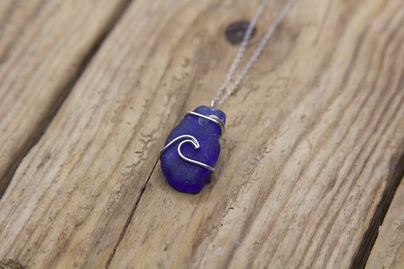 Cobalt Blue Wave Necklace