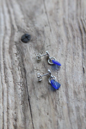 Simple Cobalt Blue Stud Earrings