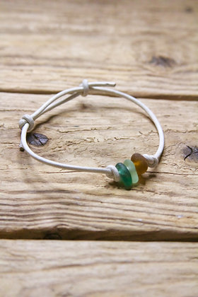 White Leather Light Green Sea Glass Collection Bracelet