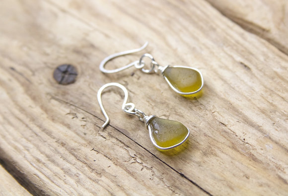 Dark Yellow Wrap Earrings