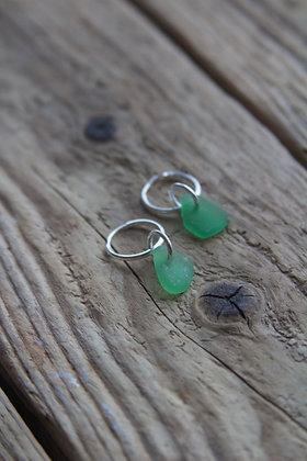 Green Sea Glass Huggies