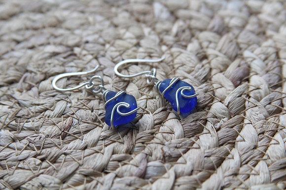 Cobalt Blue Wave Earrings
