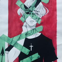 25C_Inner Demons_ink pens acrylic paint tape_8x12
