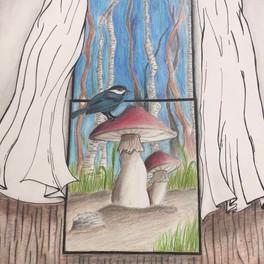 43C_a view through a window_pencil crayon