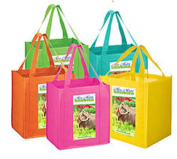 Reusable, recylable brightly colored shopping bags