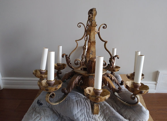 King Louis Style 8 Bulb Iron Chandelier