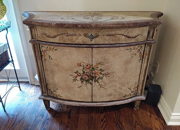 Distressed Painted Cabinet with Floral Design