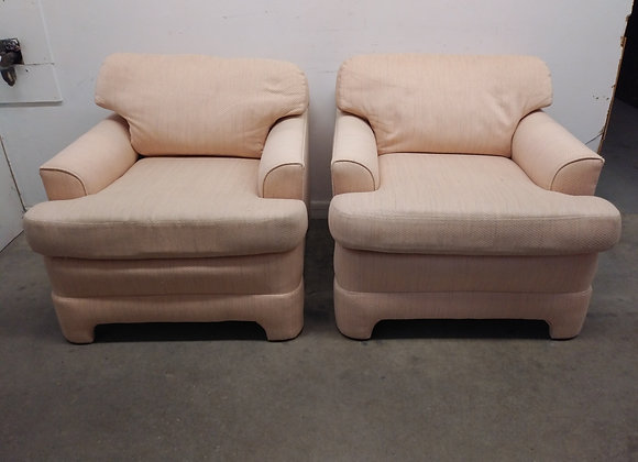 Pair of Vintage Ridpaths Pink Upholstered Luxury Lounge Chairs
