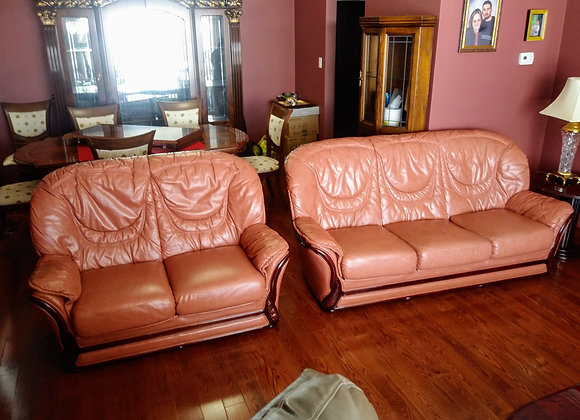 3 Piece Leather Sofa, Love Seat, Chair Set