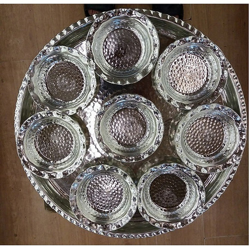 10 x TURKISH COPPER SPICE/SNACK SET OF EIGHT WITH TRAY